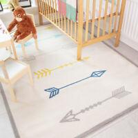 Childrens Scandi Rugs Mutlicolour Geometric Boys Girls Bedroom Nursery Play Mats