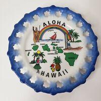 Hawaii Aloha Souvenir Plate Scalloped Blue Edge Hula Girl Surfing Rainbow