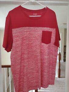 Mens Express Shirt Size Large Color Red Front Pocket Short Sleeve