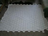 "Stunning! Antique 6 point Star Popcorn Crochet Coverlet all Handmade 85"" x 96"""