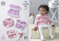 Baby Double Knitting Pattern Dress Short or Long Sleeve Cardigans King Cole 5085