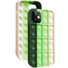 Pop Fidget Toy Soft Tpu Silicone Case Cover For Apple iPhone 12 Pro -Green/White