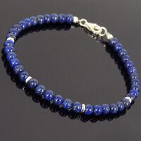 Blue Chakra Bracelet Lapis Lazuli Gemstones Small Beads Sterling Silver Clasp