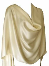 Luxury Vanilla Cream Ivory White Scarf Wrap Stole Viscose Satin Cotton Silk UK