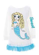 ts-99 blanc bleu meerjugfrau sirène tulle paillettes shirt à manches longues