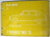 RENAULT 16L/TL Car Spare Parts List 1974 #P.R.999 R1152-R1153