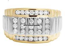 TWO-TONE GOLD FINISH MENS LAB DIAMOND ENGAGEMENT WEDDING PINKY RING BAND