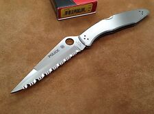 """Spyderco Police 3 C07S Stainless Steel Handle Serrated Edge Folding Knife 4 3 8"""""""