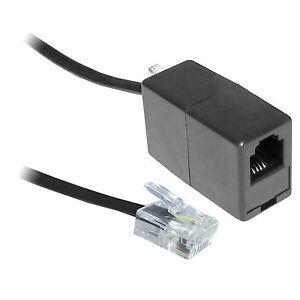 20M ADSL RJ11 Broadband Modem Extension Cable Lead + Coupler Male Female Black