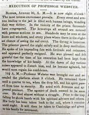 1850 newspaper Harvard Medical School Professor JOHN WEBSTER EXECUTED for MURDER