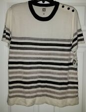 $79 NWT Anne Klein Ivory Multi Womens Striped Scoop-Neck Knit Top Size XL XLarge
