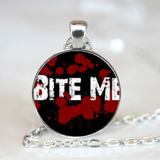 Bite Me Graphics photo Glass Dome Tibet silver Chain Pendant Necklace,Wholesale