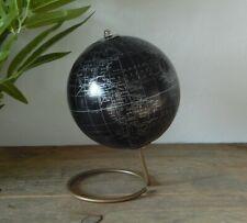 Black Silver Gold World Globe Vintage Rotating Atlas Decor Office Desk Ornament