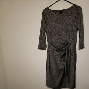 Ann Taylor Women's Dress Size Large Petite Gray Black Tie Sash Ruched 3/4 Sleeve