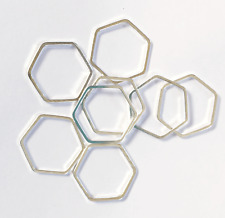 Bulk 100 silver plated hexagon, silver plated brass double sided hexagon 16x18mm