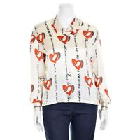 Vtg ESCADA Margaretha Ley Cream Red Black Heart Print Silk Blouse Shirt Top 38/8