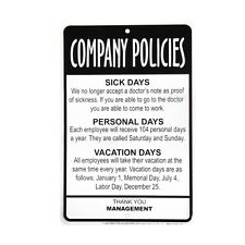 Management Employees Company Policies Sign Funny Work Break Room Office Decor