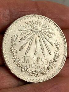 1940 Mo Mexico One Peso Un Peso Silver Coin KM #455 1 Peso ***BUY IT NOW***