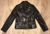 All Saints womens ladies lamb leather brown Armstead Biker jacket size UK 10