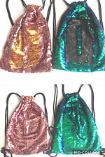 Reversible Sequin Drawstring / Gym / Dance / Sports Bag.  Blue, Green & Black.