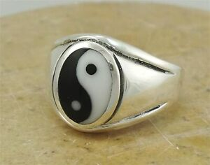 MEN'S .925 STERLING SILVER YIN YANG RING size 10  style# r1971