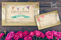 PERSONALISED RUSTIC BUNTING & BURLAP LACE WEDDING INVITATIONS PACKS OF 10