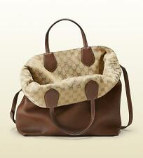 NEW GUCCI  RAMBLE Reversible LEATHER Gg Canvas 370823 Brown Tote Bag REt $2,098