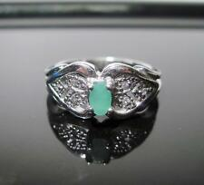 925 Sterling Silver Jade Solitaire With Accents Ring  SZ.6 - 2.5g