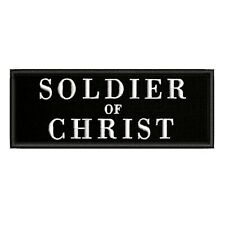 """Soldier of Christ 4"""" W x 1.5"""" T Embroidered Iron / Sew-On Patch Jesus Bible"""