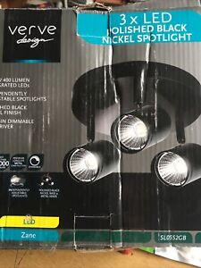 New Boxed  Verve Design SL0552GB Zane 3x 5W LED Wall Spotlight - Black Nickel