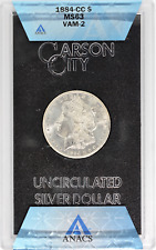 U.S. Morgan Silver Dollar 1884-CC GSA VAM-2 MS63 ANACS Certified UNC $1 Coin