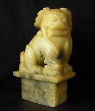 Chien de Fô chimère 2kg en stéatite Chine XIX sculpture Chimera China 狗佛望月鸡血石中国