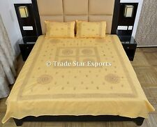 Indian Embroidered Bedding Set Boho Queen Cotton Bedspread With 2 Pillow Cover