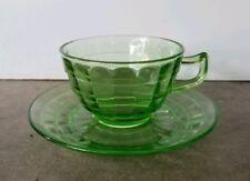 Block Optic Green Depression Uranium Vaseline Glass Cup + Saucer Anchor Hocking