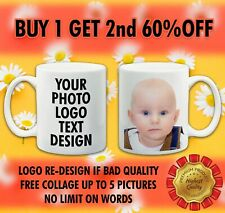 Personalised Photo Mug Cup Custom Gift Printed With You're Picture text or LOGO