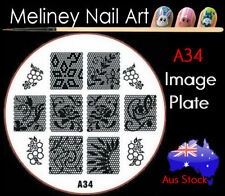A34 Stamping Nail Art Image Plate Design Round XL Stencil metal