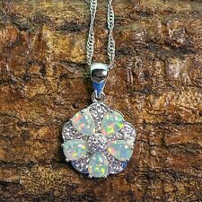 White Fire Opal & Cubic Zirconia Flower Silver Plated Pendant Necklace