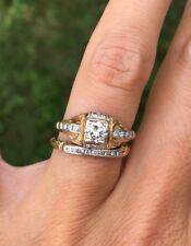 .40ct Antique Estate Old European Cut Diamond Engagement Ring Wedding Band Set
