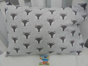 Pillowcase Flannelette Cot Toddler Size Fox Face 100% Cotton Snuggly Warm!