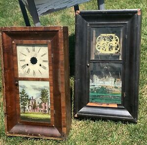 Two Antique Ogee Clock Cases for Parts or Repair.