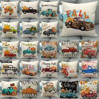 """18x18"""" Fall Harvest Pumpkin Car Throw Pillow Case Truck Cushion Cover Sofa Decor"""