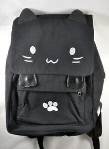 Canvas Backpack Cat Face Black Adjustable Straps