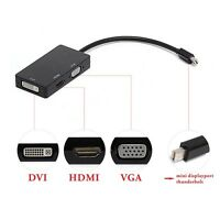 3in1 Mini Display Port DP Thunderbolt to DVI VGA HDMI Adapter for MacBook Pro Jʌ