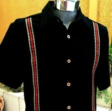 Mexican Black Guayabera Casual Shirt Cotton Manta Embroidery Button down