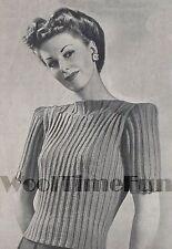 Vintage Knitting Pattern Lady's 1940s Ribbed Design Jumper Long or Short Sleeved