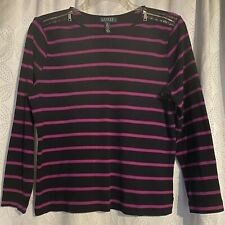 Lauren Ralph Lauren Women's 100% Cotton Black w/Fuchsia Striped Sweater Size 2X