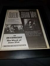 Queen Brian May Rare Original Westwood One Radio Concert Promo Poster Ad Framed!