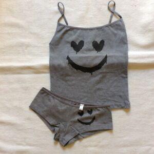 Grey Gothic Smiley Vest Top & Boy Shorts UK 8  Cotton Lycra