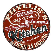 Cwkr-0093 Phyllis'S Kitchen Funny Rules Tin Sign Mother's day Gift For Woman
