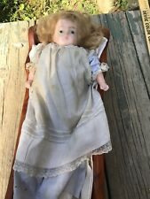 Antique Composition Wax Doll Blonde Hair Original Dress Jointed Arms & Legs
